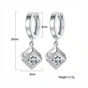 Jewelry - NEW Sterling Silver Diamond Cube Hoop Earrings